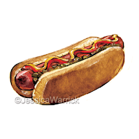 An original, watercolor and digital hotdog clipart illustration great for small business use and fun, personal projects.