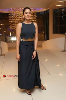 Actress Regina Candra Stills in Beautiful Blue Long Dress at Nagaram Success Meet  0185.JPG
