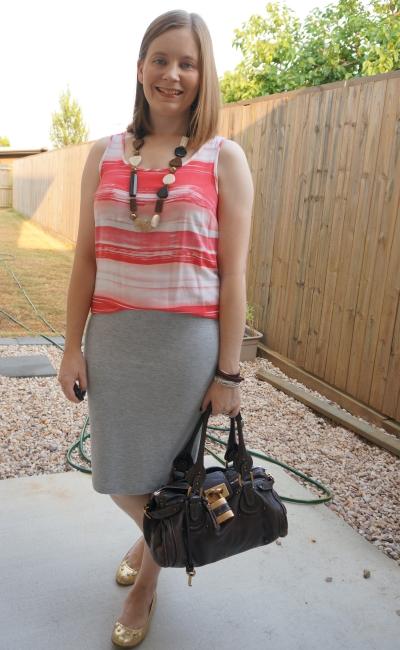 casual summer office outfit brushstroke stripe tank jersey pencil skirt chloe paddington bag | awayfromblue