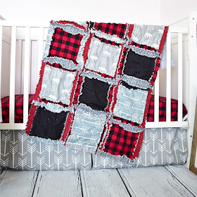 baby boy crib bedding for bear nursery red plaid, gray bears, and black
