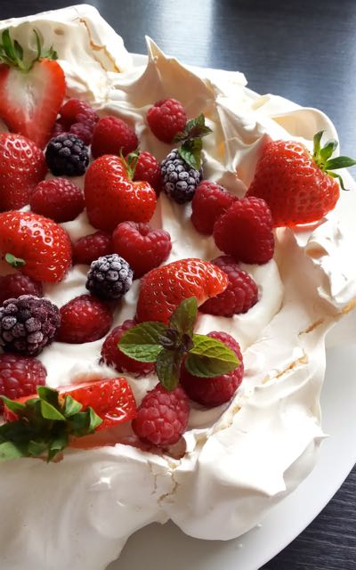 A snapshot of a decorated pavlova