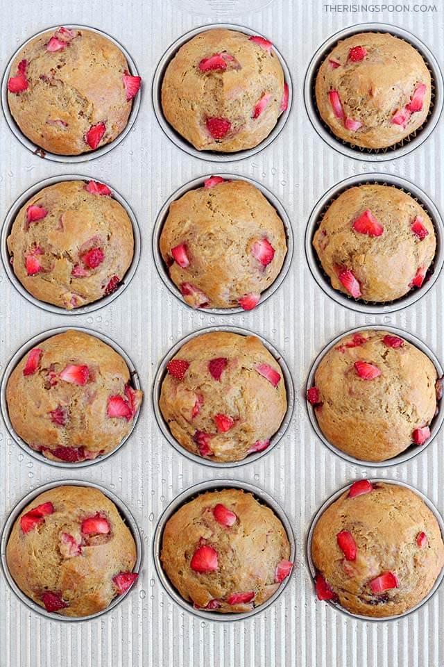 Easy & Moist Strawberry Banana Bread Muffins