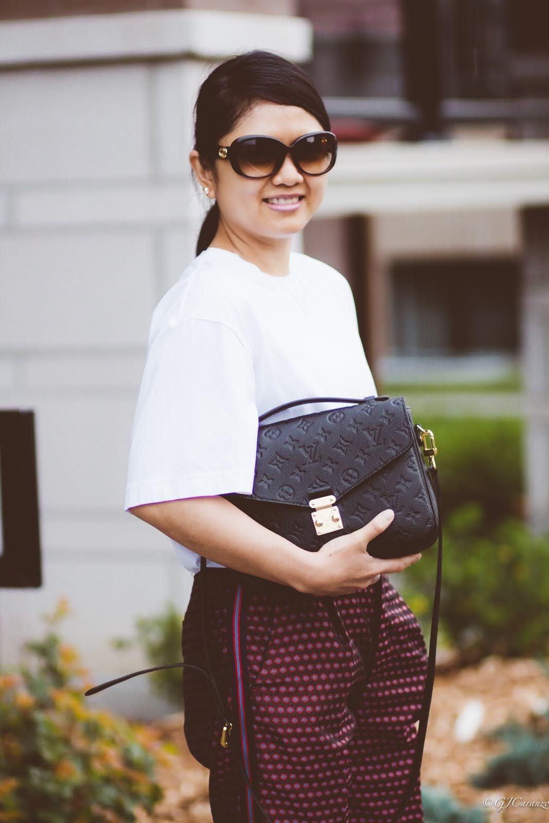 Zara pants with side stripes_uniqlo oversized white tee_coach bleeker sandals_gucci sunglasses_louis vuitton pochette metis in black empreinte leather