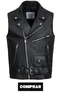Gaudi-Leathers chaleco negro para hombre de cuero