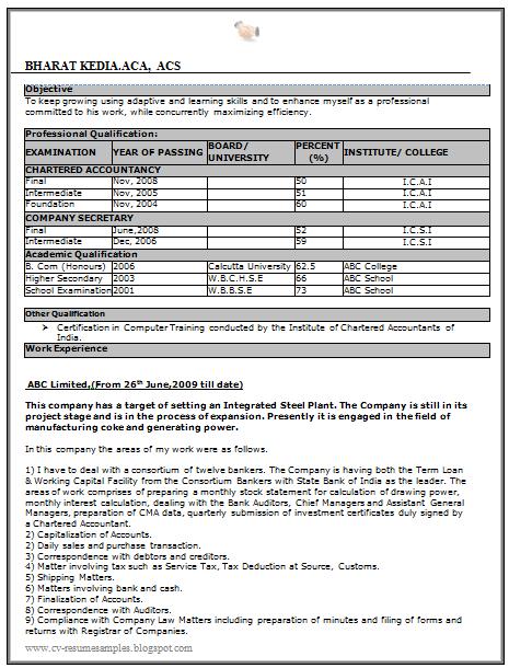 naukri sample resume for freshers