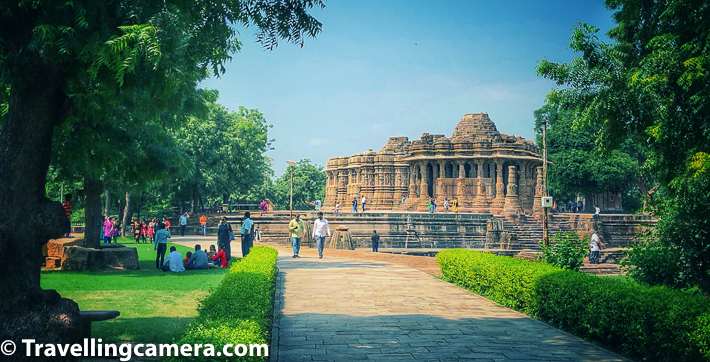 Modhera Sun Temple is a must visit place around Ahmedabad. Architecturally rich, and it's not just the temple, but also has a structurally fantastic step-well, with 108 shrines in it. Pleasant landscaping around the complex adds to the heritage look. Above photograph shows the first view of the temple you get while walking into the temple complex from ticket counter.