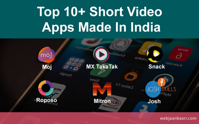 Top 10+ Short Video  Apps Made In India