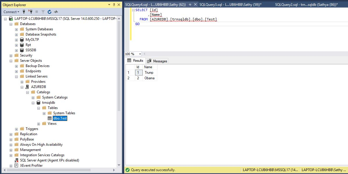 All about SQLServer: How to create linked server between On-premise