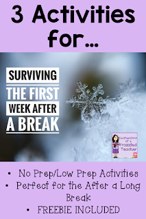 The first week after a long break is tough! Teachers need to reestablish procedures and routines. This blog post contains 3 activities to do with students after a long break (like Winter Break). These activities are all low prep/no prep, making planning easy for teachers. Bonus!!! There is a freebie included! #confessionsofafrazzledteacher {Third, Fourth, and Fifth Graders; classroom management; January lesson planning}