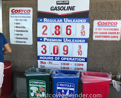 Costco gas for September 24, 2017 at Redwood City, CA