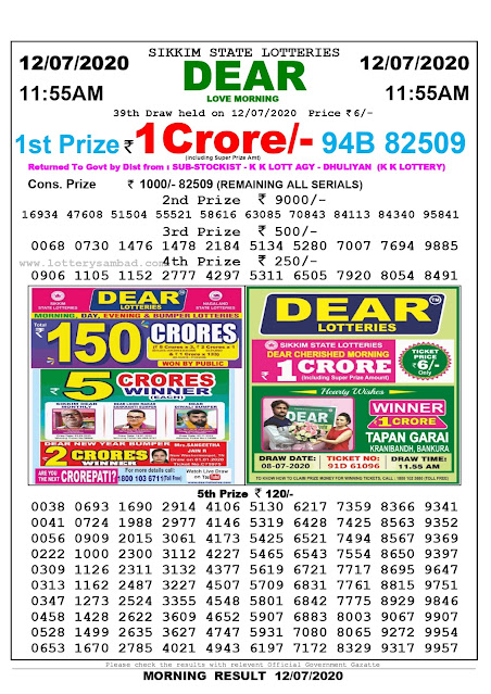 Sikkim State Lottery Sambad 12-07-2020 Today Result 11.55 AM