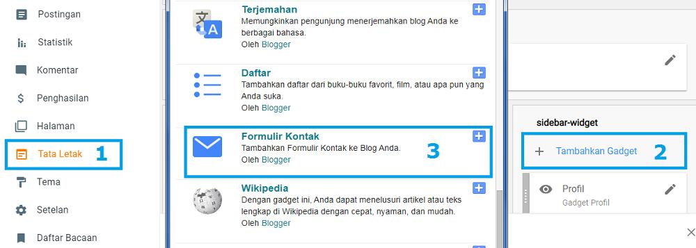 cara menambah widget formulir kontak blogger