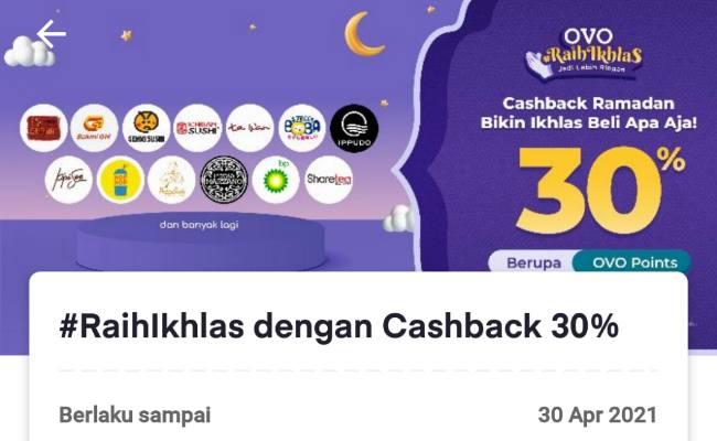 OVO Raihlkhlas dengan Cashback 30 Persen