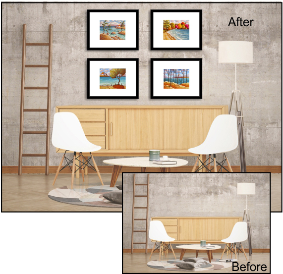 Art for modern living before & after Cathy Horvath Buchanan