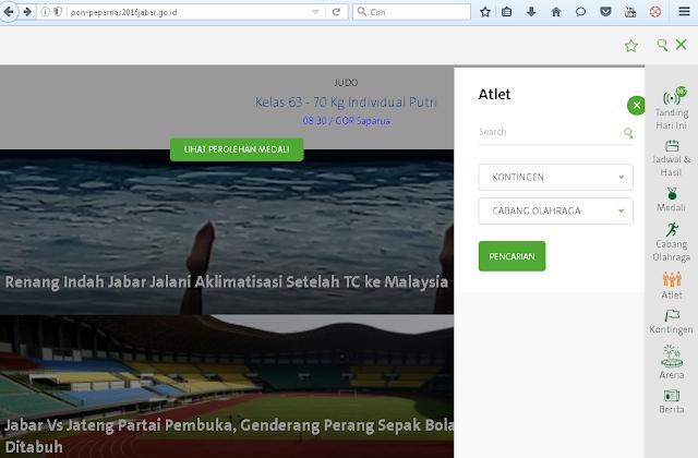 tampilan website pon