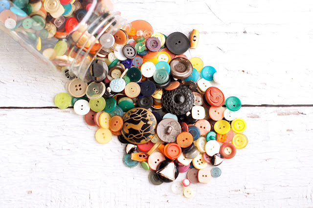 a pile of unique buttons