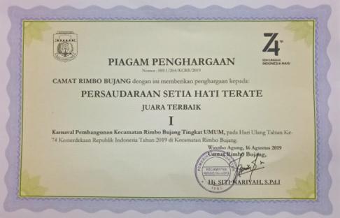 PSHT Cabang Tebo Pusat Madiun Juara I Terbaik Tingkat Umum Karnaval Pembangunan HUT Ke-74 Kemerdekaan RI di Rimbo Bujang