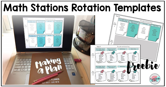 My math stations rotation template is perhaps the most essential tool I use to plan for and manage my math rotations. I use it to map out the variety of activities my students will complete, create small groups for interventions or enrichment, and organize student groups that will work well together. Today, I'm also sharing how my math stations are differentiated, even if the differentiation is not readily apparent on the assignment template.