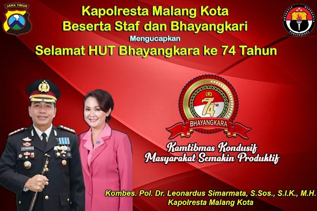 Iklan Kapolresta Malang Kota mengucapkan Selamat HUT Bhayangkara ke 74 Tahun