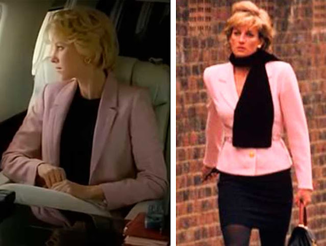 Diana (Naomi Watts) e ao lado foto real look pareciodo