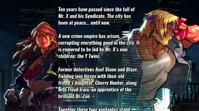 Screenshot of Introductory scrawl from Streets of Rage 4
