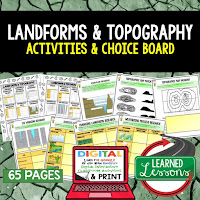 Landforms and Topography Activities, Earth Science Activities, Choice Boards, Digital Graphic Organizers
