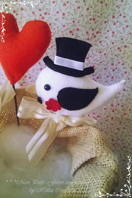 topo de bolo-em feltro-noivo-passarinhos