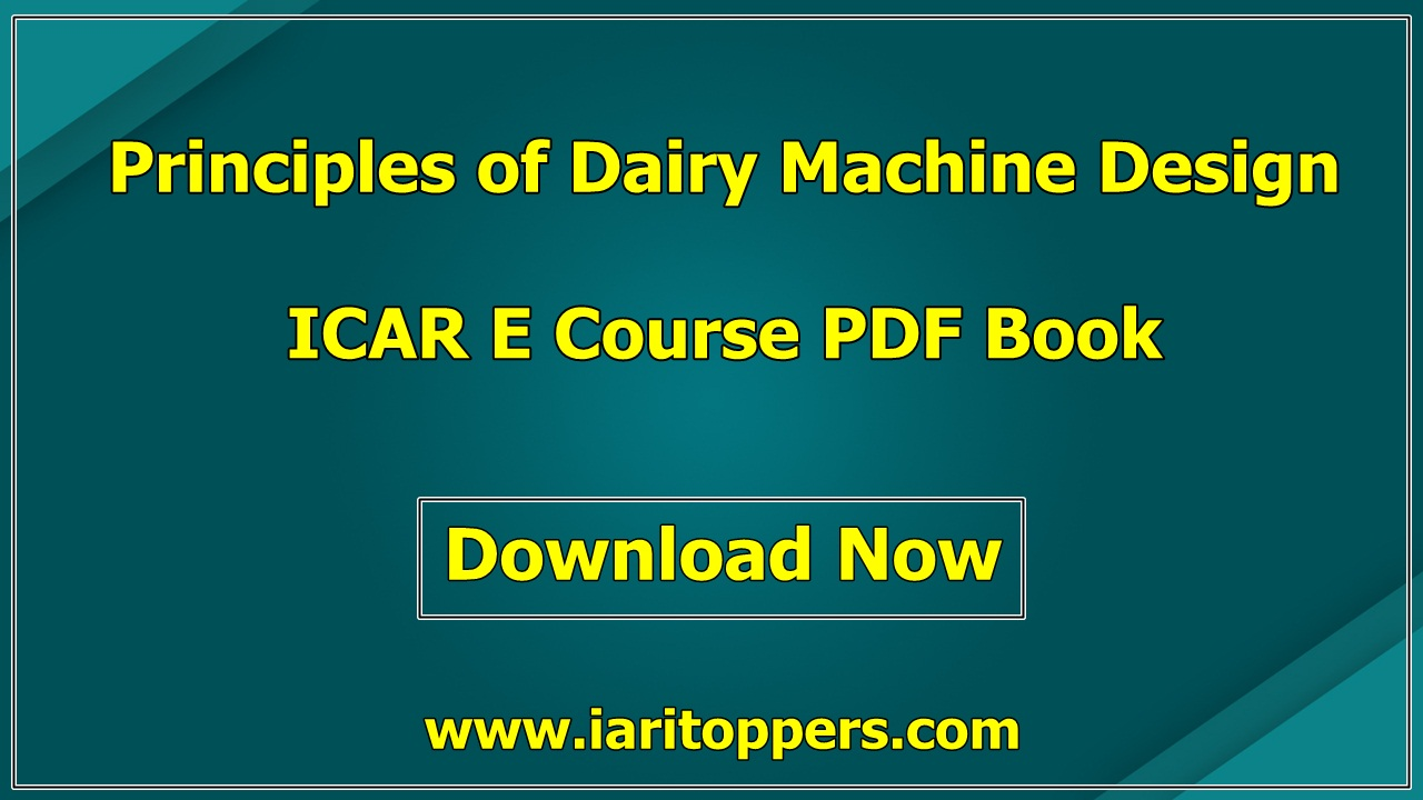 Principles Of Dairy Machine Design ICAR Ecourse PDF Book Download E Krishi Shiksha