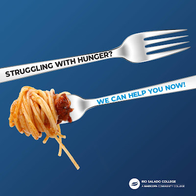 Poster featuring an empty fork and a fork with spaghetti.  Text: Struggling with hunger.  We Can Help You Now!