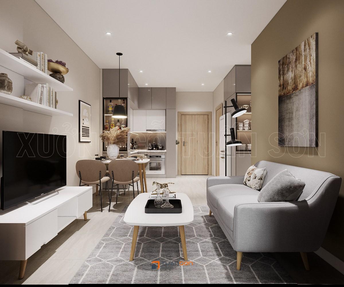 Thiết kế nội thất căn 1PN+1 (43m2)  S4.01-03 Vinhomes Smart City