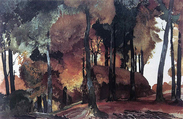 a William Russell Flint watercolor of an autumn house in ther woods