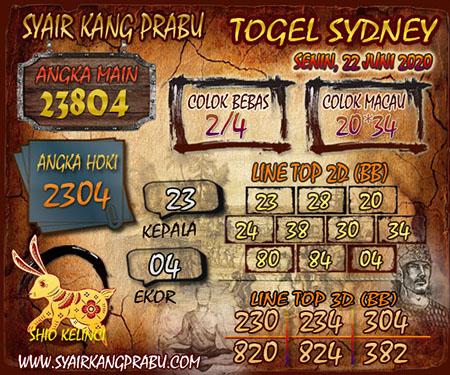 Syair Sydney Kang Prabu Senin 22 Juni 2020