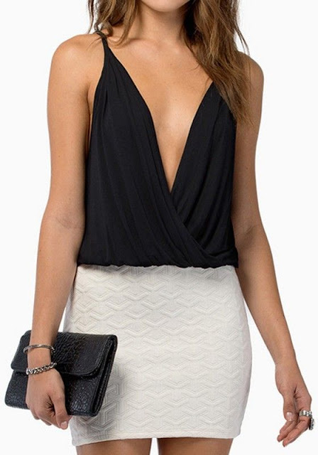 Super Sexy Black Sleeveless Plunging Neckline Chiffon Tank Top