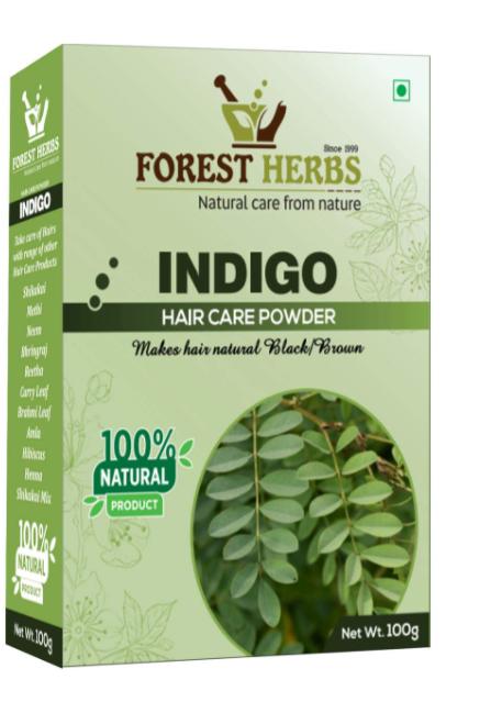Forest Herbs 100% Natural Organic Indigo Leaf Powder for Hair Colour - 100Gms
