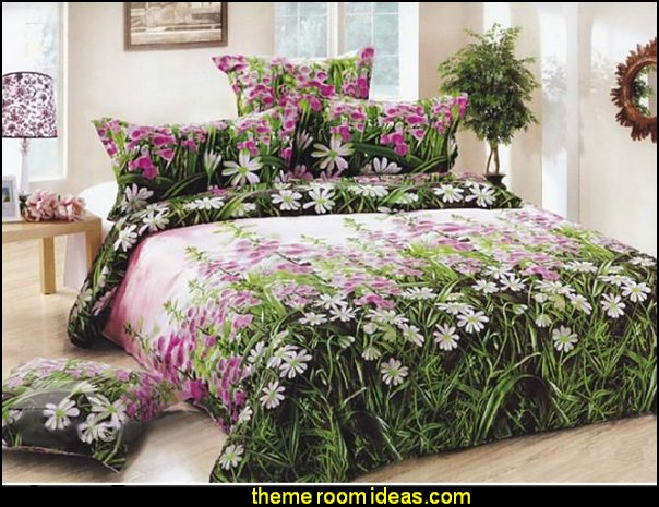 Pink Flower Print 4-Piece Duvet Cover Sets