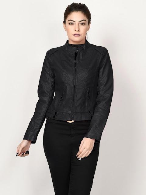 limelight winter wear women black leather jakcet