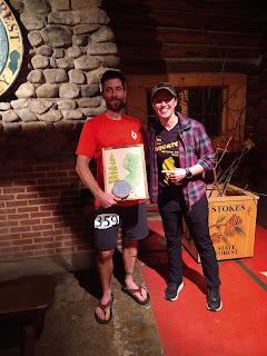 Beast Coast Trail Running Scott Snell presented award from Race Director Kim Levinsky as winner of the Backyard Squatch Ultra