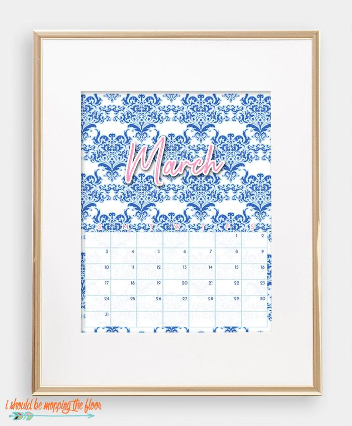 March Chinoiserie Calendar