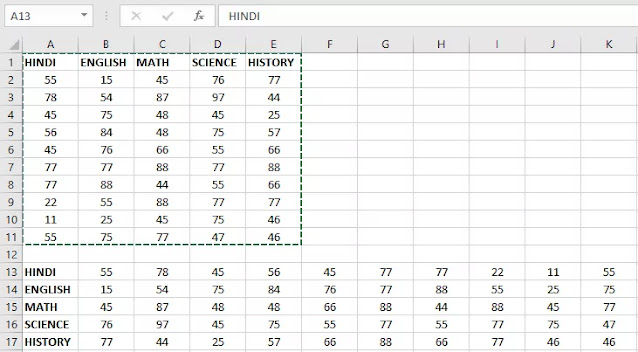 How to convert Row to Column in Excel
