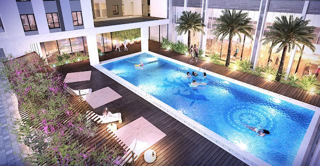 Bể bơi giữa tòa K2 và K3 chung cư The K Park Hà Đông