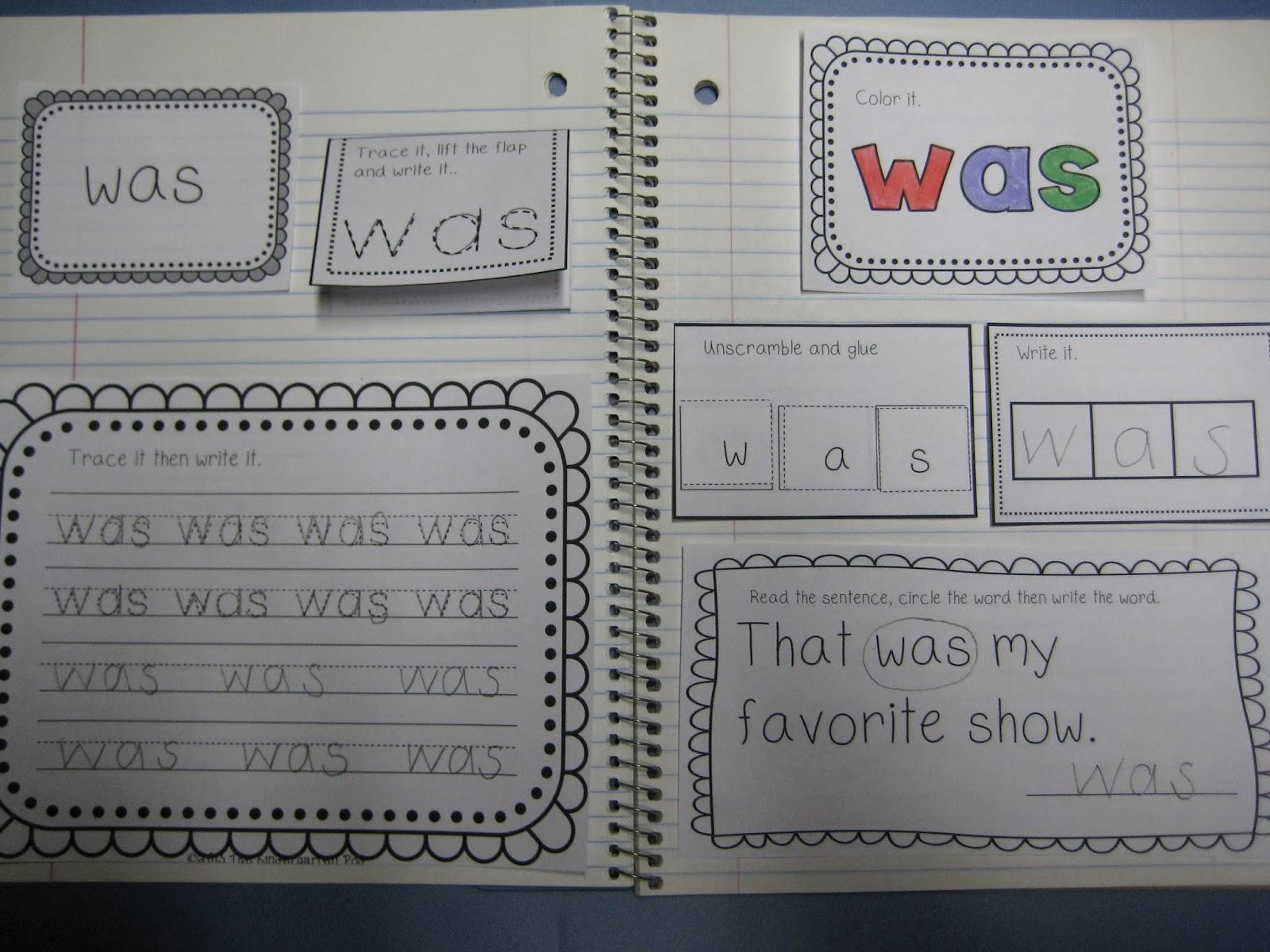 The Kindergarten Pod Interactive Sight Word Journal