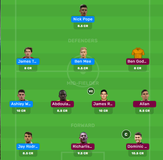Burnley vs Everton Dream11 Fantasy Football combined Playing XI: