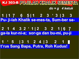 Lirik dan Not Kidung Jemaat 303b Pujilah Khalik Semesta