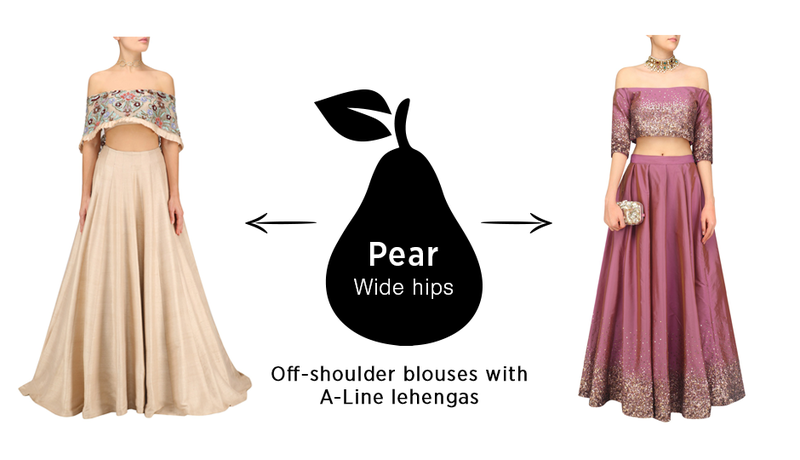Lehenga for a pear shape body