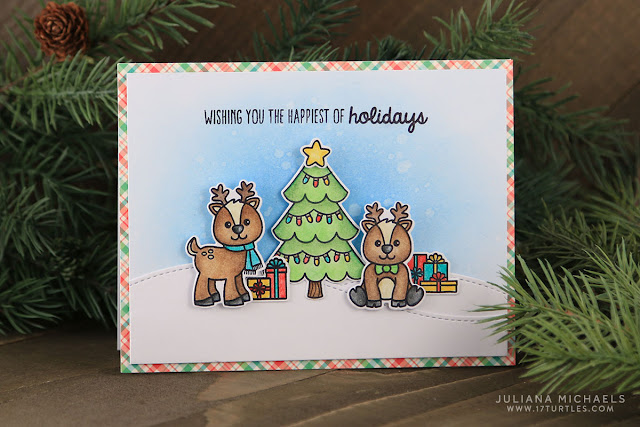 Sunny Studio Stamps: Gleeful Reindeer Holiday Christmas Card by Juliana Michaels.