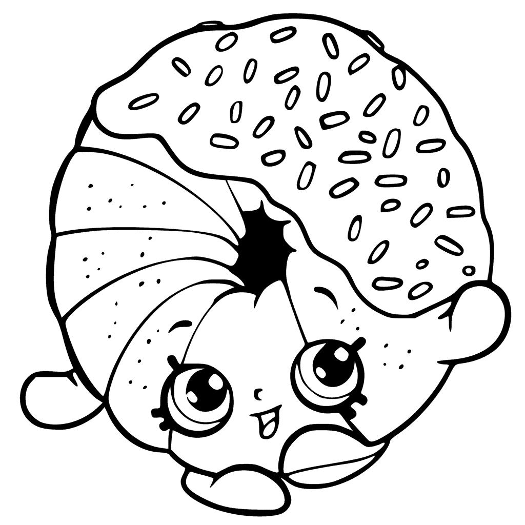 Click to see printable version of Kawaii Donut Coloring page