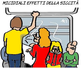 siccità, acqua, trasporto pubblico, lavarsi, umorismo, vignetta