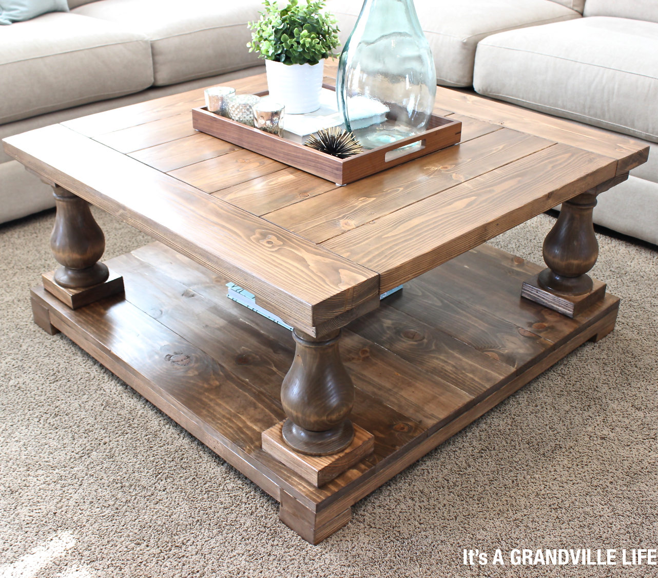 It 39 s a grandville life diy balustrade coffee table for Diy coffee and end tables
