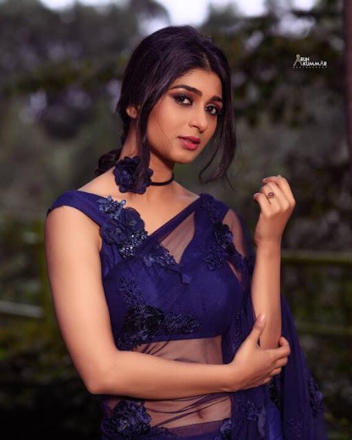 Aditi Prabhudeva Blue Saree Stills Navel Queens