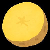 じゃがいもの切り方のイラスト(黄色・半分)